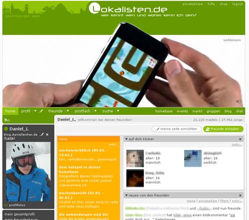 Screenshot: Lokalisten.de mit Apple Werbung
